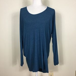 Lucy Blue Workout Long Sleeve with Black Mesh